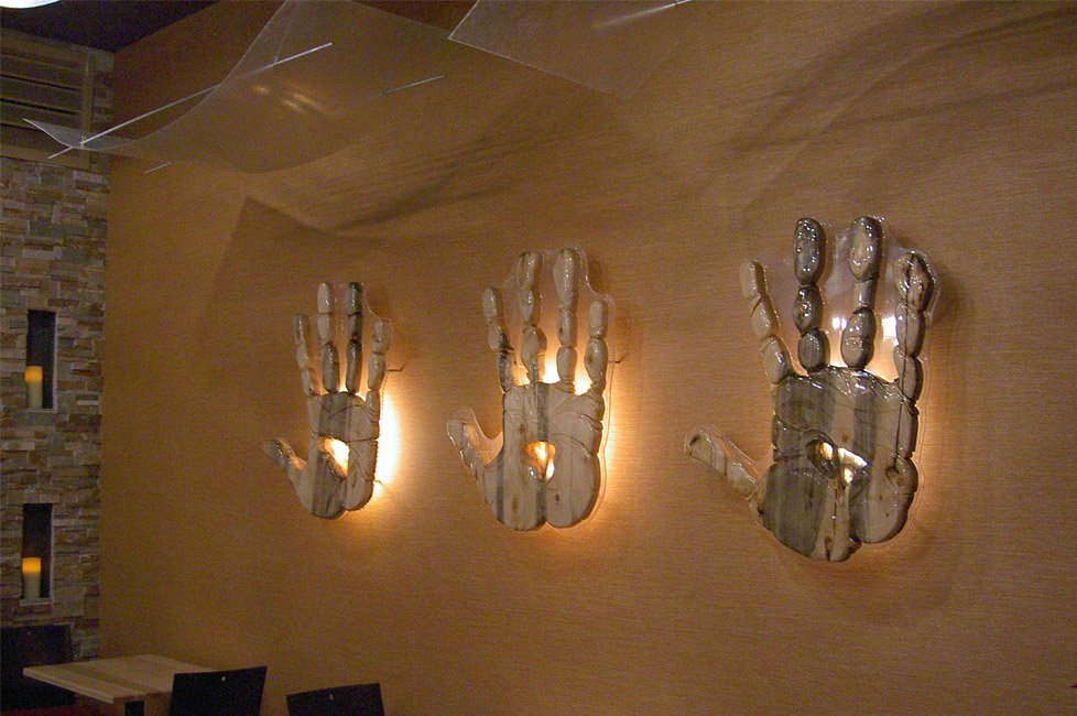 Hands carved out of wood